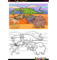 cartoon prehistoric characters coloring book vector image vector image