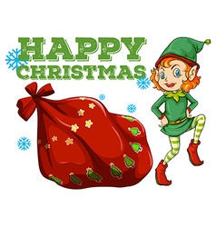 Christmas theme with elf and present bag vector image vector image