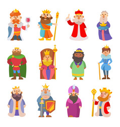 different cute cartoon kings characters set vector image
