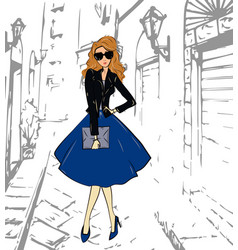 fashionable cute girl in a leather jacket blue vector image vector image