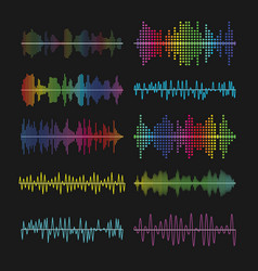 multicolored graphic equalizer waves soundtrack vector image