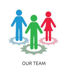 our team icon gear wheels design vector image