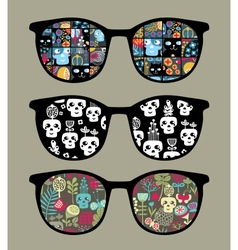 Retro sunglasses with reflection in it vector image