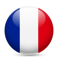Round glossy icon of france vector image vector image