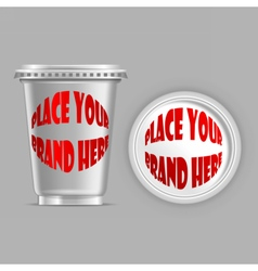silver plastic can mockup vector image
