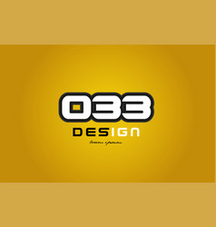 033 number numeral digit white on yellow vector