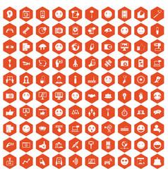 100 social media icons hexagon orange vector