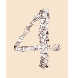 4 School alphabet figure vector