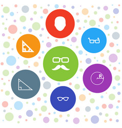 7 hipster icons vector