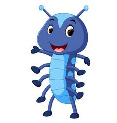 A cute blue caterpillar cartoon vector