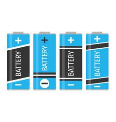 a set of four blue batteries vector image