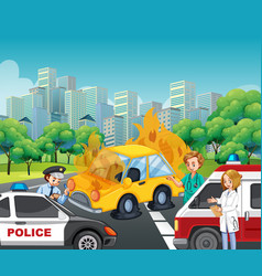 accident scene with policeman and ambulance on vector image