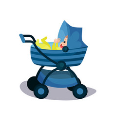 Adorable baby in a blue modern baby pram vector
