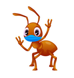 Adorable little ant in a face mask is waving its vector