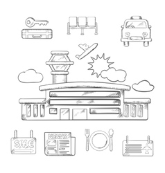Airport and flight service sketch design vector