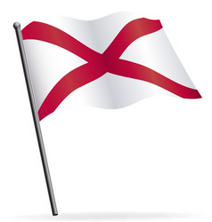 Alabama state flag waving on flagpole vector