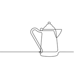 antique coffee pot continuous line graphic vector image