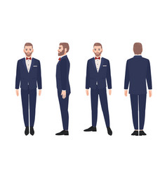 Attractive bearded man dressed in elegant suit or vector
