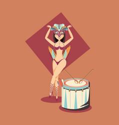 Beautiful woman dancer and drum circus carnival vector