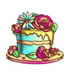 birthday cake decorated with flowers ink vector image