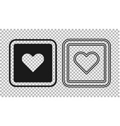 Black like heart icon isolated on transparent vector