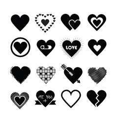 Black silhouette valentines day hearts icon set vector