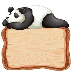 board template with cute panda on white background vector image