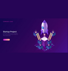 business start up cooperation support isometric vector image