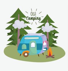 Camping trailer bonfire pine trees vacations vector