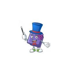 Cartoon character purple gift box magician vector