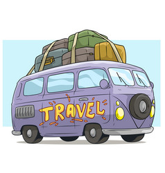 cartoon cute violet retro van bus with luggage vector image