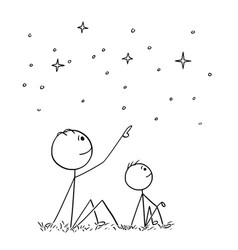 Cartoon of father and son watching night sky stars vector