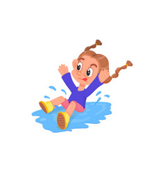 Cartoon style girl jumping into a puddle vector