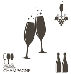 Champagne Isolated wineglasses and bottles vector image