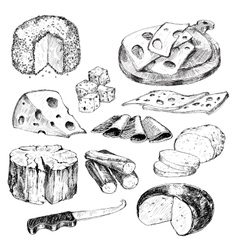 Cheese Hand drawn collection vector