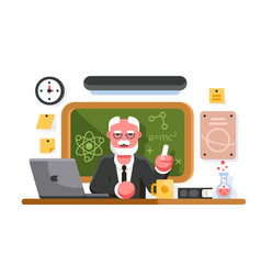 chemistry teacher sitting on blackboard background vector image