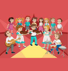 Children perform at a concert and play musical vector