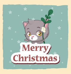 christmas greeting with cute cat holding a vector image