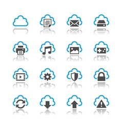 Cloud computing icons reflection vector image