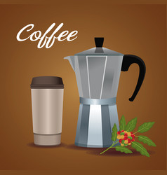 Color poster metallic jar of coffee with handle vector