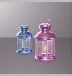 colorful set of lanterns on light background 3d vector image
