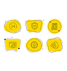 Confirmed idea and seo gear icons set 24 hours vector