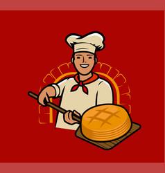 cook bakes bread chef baker cartoon vector image