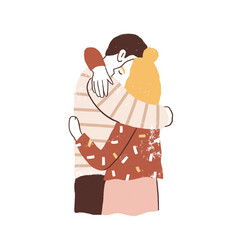couple hugging man and woman embracing tenderly vector image