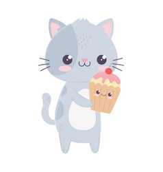cute little cat and cupcake kawaii cartoon vector image