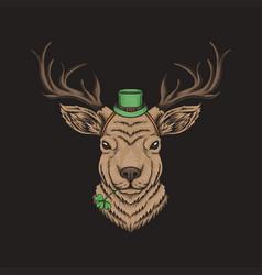 deer head st patricks day vector image