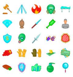Delinquency icons set cartoon style vector