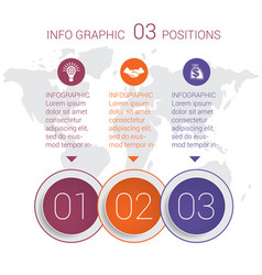 Diagram info graphics template 3 positions vector
