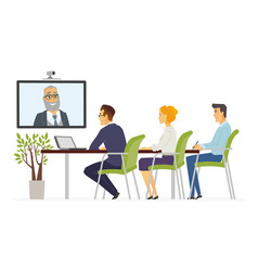 Distance meeting - modern cartoon business vector