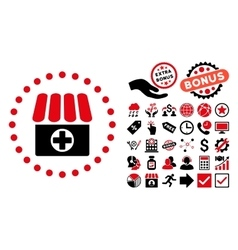 Drugstore Flat Icon with Bonus vector image